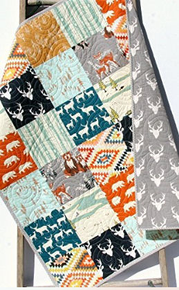 enchanted forest deer head baby crib nursery bedding quilt owl raccoon fox squirrel white tail  deer bambi hunting