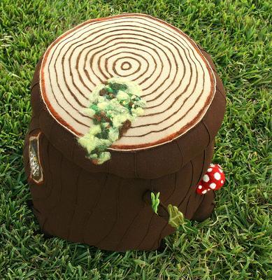 Wool Forest Theme Tree Stump Mushroom Nursery Ottoman