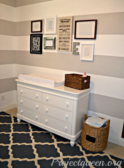 Painted horizontal stripes on a baby boy's nursery walls