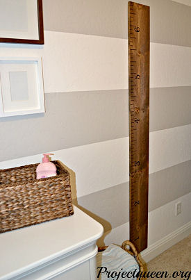 Vintage wooden baby ruler baby growth chart