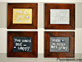 You are My Sunshine prints framed in natural wood frames for the baby's nursery gallery wall