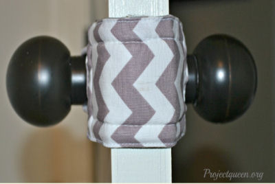 Latchy Catchy in Gray and White Fabric with Chevron Stripes