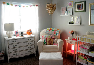 Cozy seating in Evelyn's nursery