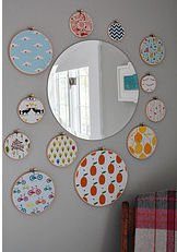 fabric nursery wall embroidery hoop arrangement collage