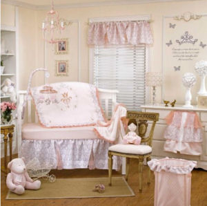 Pink and white fairy tale princess crib bedding for a feminine baby girl nursery room