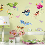 Disney flower fairy baby nursery wall stickers and decals for a girls room