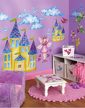 garden princess fairy wall mural wallpaper vinyl removable decals stickers appliques girls nursery bedroom