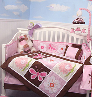 Pink and brown fairyland nursery ideas flowers baby girl crib bedding set