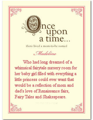 Personalized vintage style once upon a time fairy tale storybook baby shower invitation card