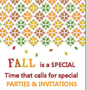 Fall themed baby shower invitation in red gold yellow and green with falling leaves