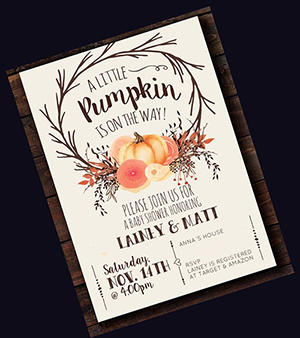 Fall baby shower invitation in pumpkin orange gold and green with a falling leaves theme