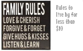 Family rules to live by saying for the baby nursery wall