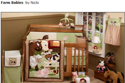 barnyard farm theme baby animals nursery crib bedding set nojo pig cow horse barn