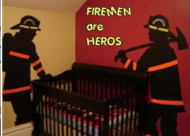 firemen fireman baby nursery theme wall decals bedding set red black yellow