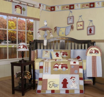 baby firetruck nursery bedding theme fireman dalmation