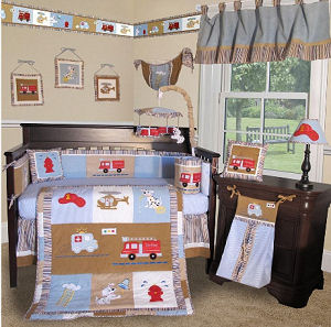 Modern firefighter fire truck baby nursery crib bedding sets