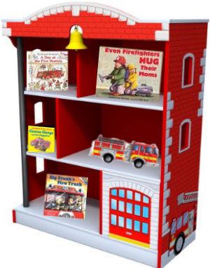 Firetruck bookshelf books display ideas in a baby fireman nursery theme room
