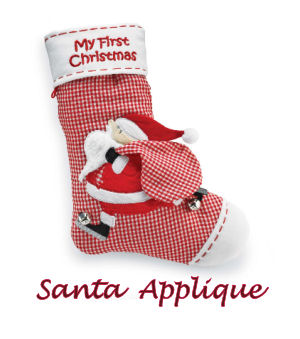 Red and white gingham baby first Christmas stocking with Santa Claus Applique pattern