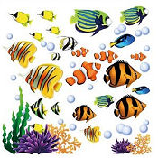Colorful tropical fish baby nursery wall decals and stickers for an ocean under the sea theme room