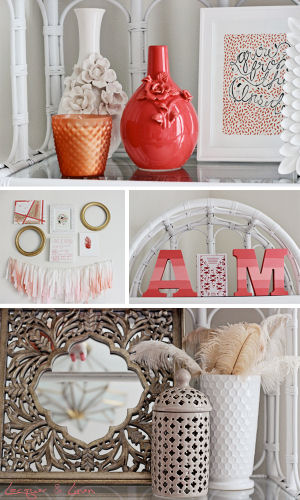 Neutral and bright coral decor for a modern nursery
