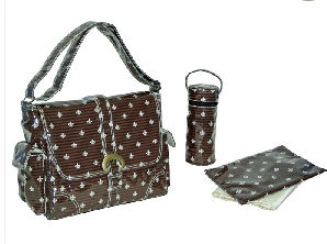 french parisian fleur de lis baby gift diaper bag set burp cloth bib