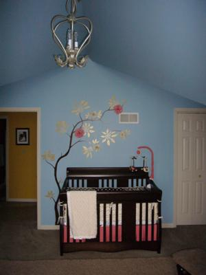 Baby Girl's Wall Tree Mural w Floral Accents