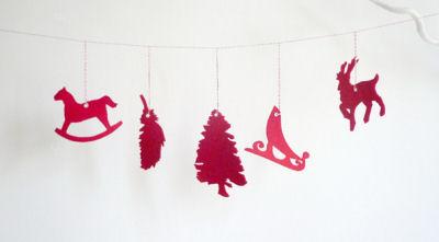 Red Felt Garland Forest Friends Baby Nursery Wall Decorations Reindeer Santa's Sleigh Christmas Tree