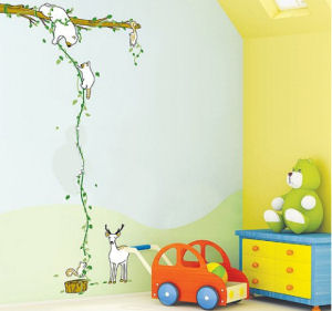 Colorful forest friends wall decals for a baby nursery or kids room with bear raccoon deer and squirrels playing on a tree branch