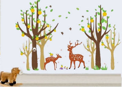 Forest baby nursery wall mural designed using deer wall decals including a forest filled with trees a buck and doe deer and friends