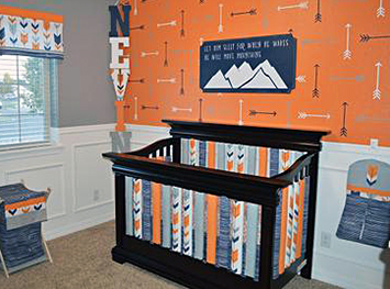 Red Fox and arrow theme DIY homemade baby crib bedding set from Spoonflower fabric in a grey and orange nursery