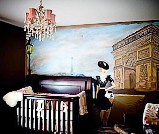 French street scene DIY Parisian baby nursery wall mural painting