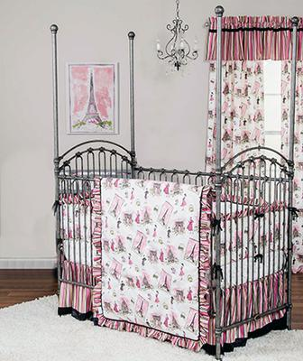 French baby girl pink, black and aqua crib bedding with French poodles, polka dots and Eiffel Tower fabrics.