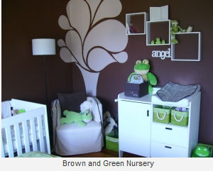 baby frog nursery decorating ideas chocolate brown white and green