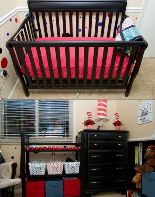 The Dr. Seuss patchwork quilt that I made draped on the end of the baby's crib and a peek of the polka dot nursery wall.