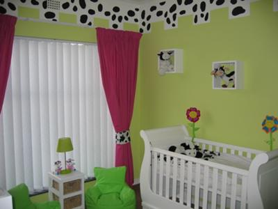 Funky Lime Green Hot PInk Black and White Cow Baby Nursery Theme