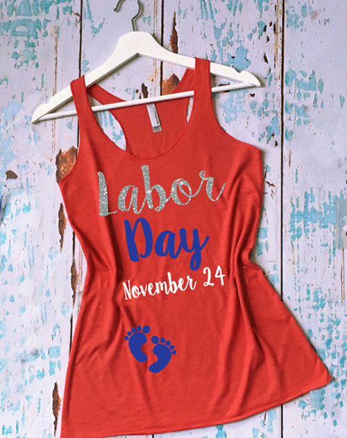 Funny Labor Day maternity shirt pregnancy humor racer back tank top