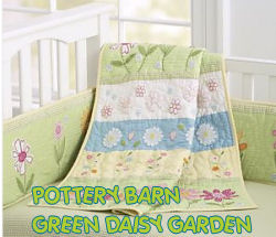 green daisy daisies garden baby crib nursery theme bedding set