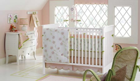 tea party pink green spring floral english country cottage baby nursery theme crib bedding set