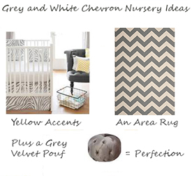 Grey white and yellow chevron print gender neutral baby nursery ideas