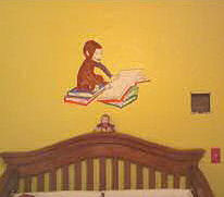 Curious george baby nursery wall murals for Curious george wall mural