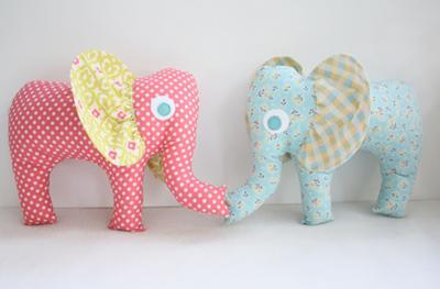 Homemade, stuffed elephant baby toys perfect for an elephant baby shower theme.