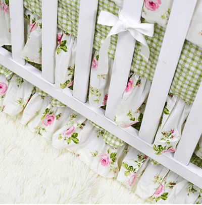 Granny Smith apple green gingham checks baby crib nursery bedding set with roses and bows for a baby girl nursery room.