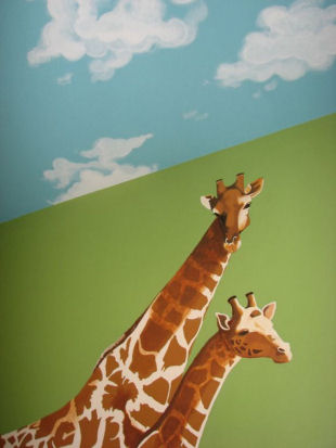 Jungle safari baby nursery wall mural painting with a giraffe and clouds