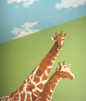 Mama and baby giraffe jungle nursery room theme wall mural painting with clouds on the ceiling