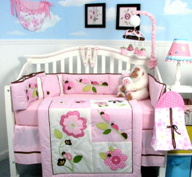 Pink baby girl ladybug bug nursery theme ideas with clouds wall mural
