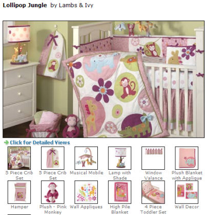 girl monkey baby bedding pink and green purple toddler set