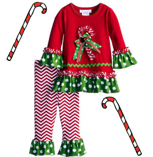 Girls boutique Christmas outfit with candy cane stripe leggings pants