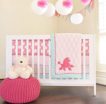girls kids french poodle bedding comforter set