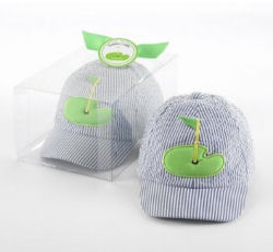 Baby blue and white seersucker golf cap with applique golf course hole-in-one graphics