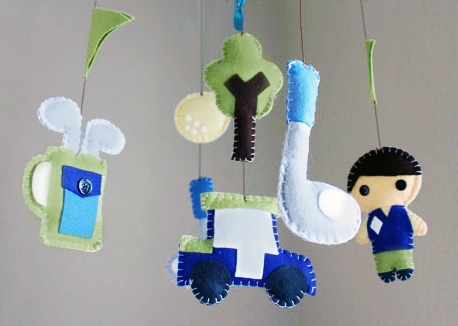 Handmade golf theme baby crib mobile for a baby boy or girl nursery room